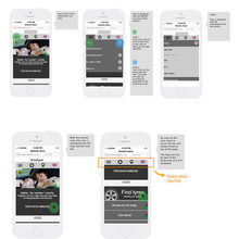 Wireframes for mobile with annotations
