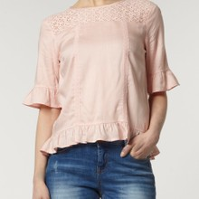 Lace insert blush blouse manufactured for Dorothy Perkins