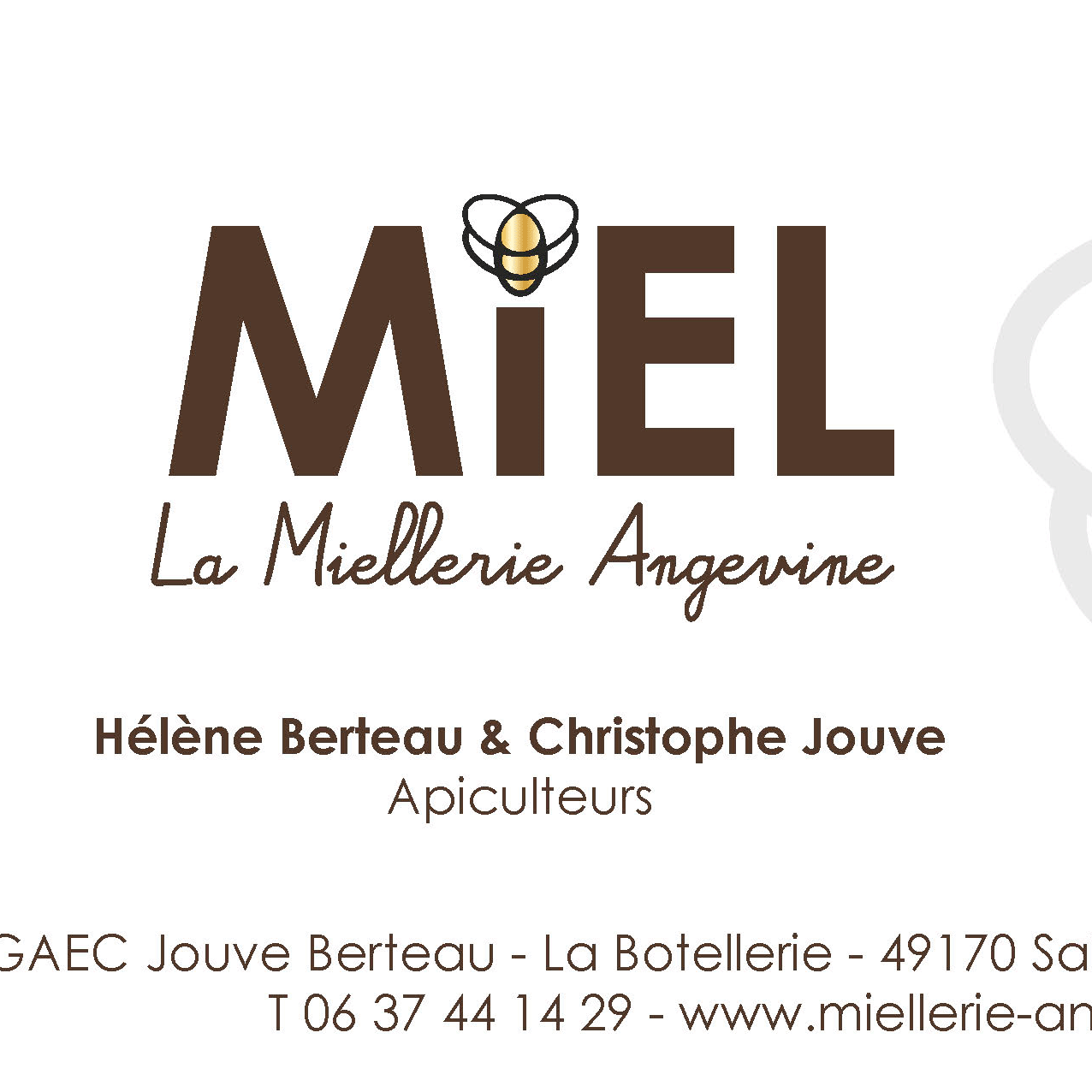 Carte commerciale Miellerie Angevine