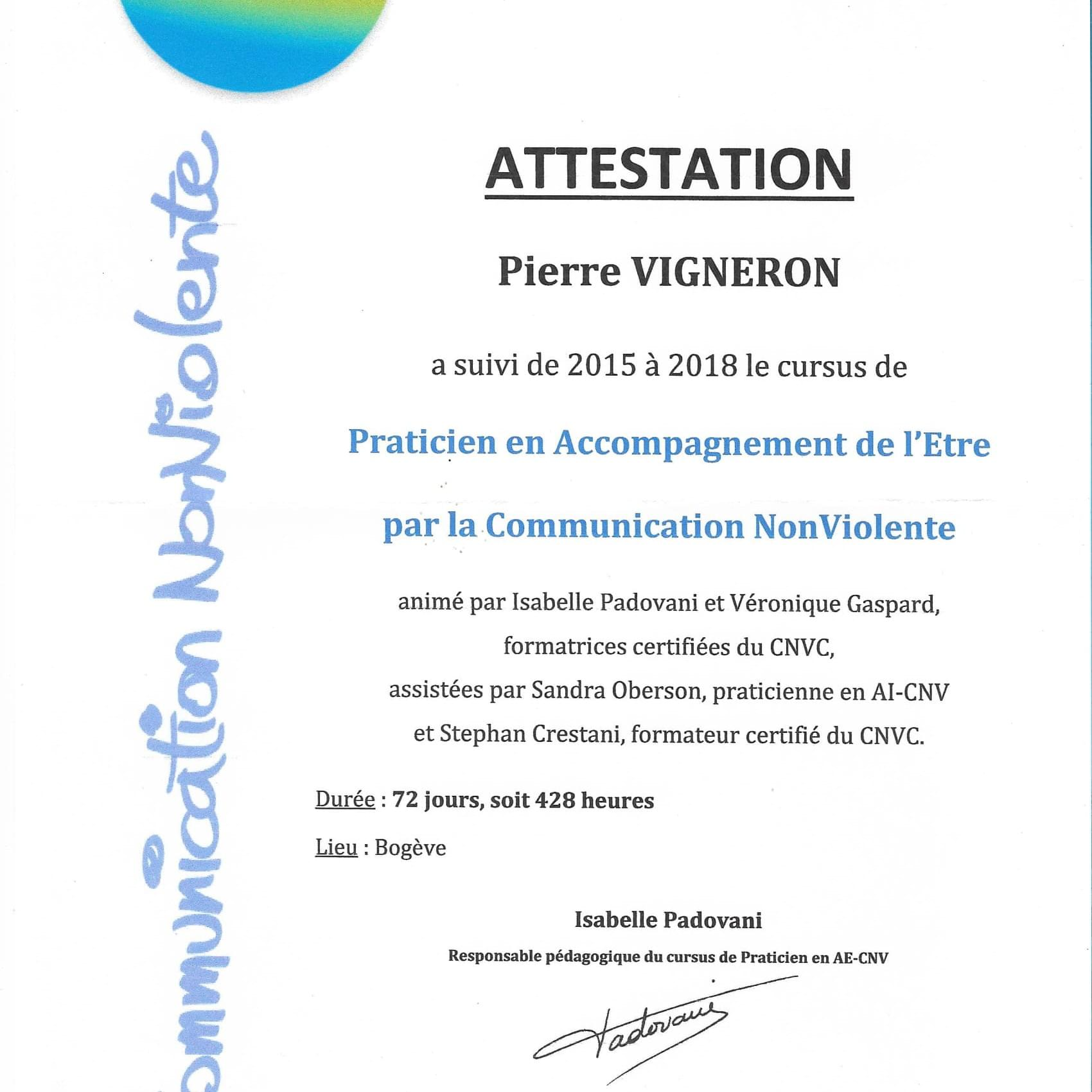 attestation formation Isabelle Padovani AI CNV