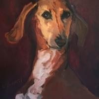Portrait of a Vizsla  (oil on canvas)