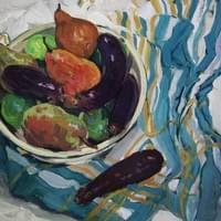 Eggplants And Pears (oil on board)