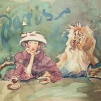 Aperitif For Madame And Her Dog (watercolour)