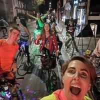 Mobile party on bikes with lights. Join the boogie bike!