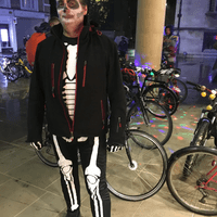 Guest at Cambridge Halloween bike party ride