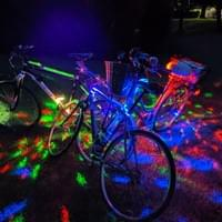 Disco party bikes light up the outdoor dance party