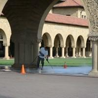 Pressure washing a college campus.