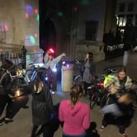 Outdoor dance party on Saturday night with Cambrudge Bike Party guests of all ages.