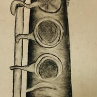 Charcoal  Observational Drawing Clarinet