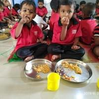 Students enjoying their healthy and delicious lunch.