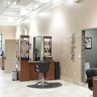 Two double-sided hair stations at Tranquility Spa Salon in Brooklyn Park, MN