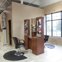 Two-sided hair station at Tranquility Spa Salon in Brooklyn Park, MN
