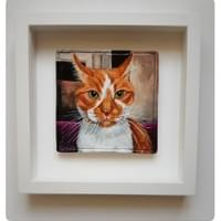 Pet Portrait recreated in clay, Ginger Cat - Mol's Tiles