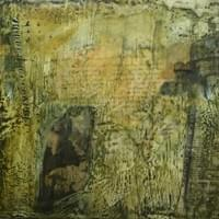 "Ages. Encaustic, mixed media on cradled panel. 8""H x 8""W. $169"