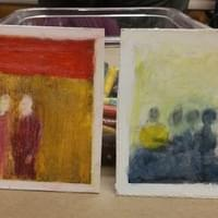 Altered Photographs. From Smithsonian Mixed Media class. Photographs, oil pastels, colored pencil stix. Chalk ink.