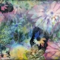 Kim Lee Binaghi. From Watson Homestead Encaustic & Mixed Media Workshop. Watercolor, encaustic, mixed media on panel.
