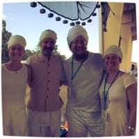 Nam Kaur, Sat Daya, Gurucharan, and Hardev at Summer Solstice Sadhana in New Mexico.