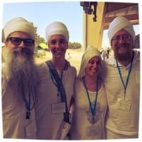 Nirmal, Bir Kaur, Hardev, and Gurucharan after a day of White Tantric Yoga at Summer Solstice Sadhana in New Mexico.