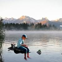 Little Boy fishing at the lake