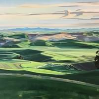 "Sunrise on the Palouse from Kamiak Butte 36""x48"" oil and wax on linen"