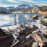 "The Salmon River and the Sawtooths 36""x48"" oil and wax on linen"