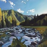 "The Lochsa River - Mile 128 20""x30"" oil and wax on linen"