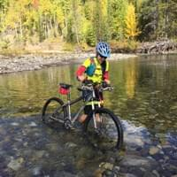 I love Mountain Biking; it gets me out of my comfort zone. It was my first time crossing a freezing river in the Canadian Rockies