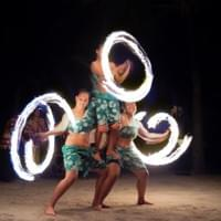 The blur of the flames shows off the skill and speed of the performers in the image taken with a camera.