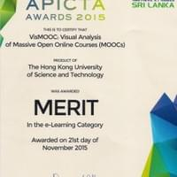 Our VisMOOC won another award- Merit in E-Learning at APICTA'15