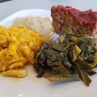 Vegan Mac & Cheese, Kale and Collards with Root Mash Quinoa Meatloaf