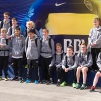 Team outside Boca Stadium