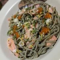 Smoked steelhead and its roe, sea lettuce spagetini, wild spring onions