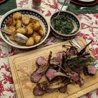 Grilled lamb chops, salsa verde, roasted potatoes