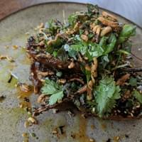 miso grilled eggplant, crispy stuff on top