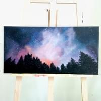 Galaxy canvas painting workshop for children, teens and adult - also available in watercolour