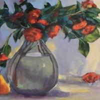 Red Flowers And Pear