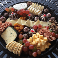 Cheese board with chocolate truffles