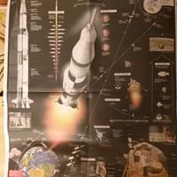 Saturn V newspaper poster marking 50th anniversary of Apollo 11 moon landing. Photo by M Negash.