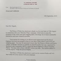 Letter from the Prince of Wales