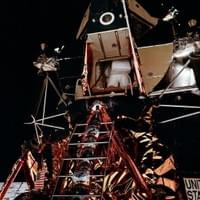 Apollo 11 and Buzz Aldrin ready to get out and walk on the moon AS11-40-5862