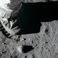 A close-up view of astronaut Buzz Aldrin's boot and bootprint in the lunar soil, photographed with a 70mm lunar surface camera during the Apollo 11 lunar surface extravehicular activity (EVA) on July 20th, 1969. (NASA