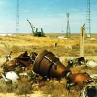 The rests of an engine next to one of Baikonur's Soyuz shooting areas...