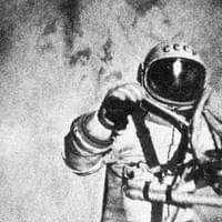 Alexei Leonov, a great name of the Soviet space program, waving at the camera during the 1st spacewalk. It was March 18,1965, as part of the Voskhod 2 mission.