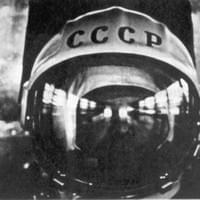 Cosmonaut Yuri Gagarin, in the bus taking him to the shooting pad. (Vostok on April 12,1961)