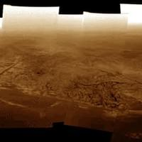 Titan during the descent of Huygens. (Colored mosaic to be geometrically deformable)
