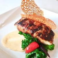 Fresh Fillet of Deep-Sea Barramundi, Jam of Iranian Dates, Cured Pork Belly & Chilled Cream Sauce of Miso