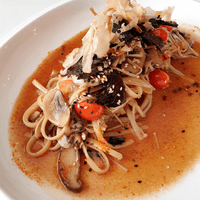 Hot Broth of Mirin & Sake, Assorted Summer Mushrooms, Seasonal Tomatoes, Linguine Pasta