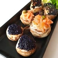 Bake French Mushroom with stuffing of Caviar, Smoked Salmon & Caper Crabmeat & Bonito Flakes