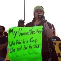 Milu Gonzalez, sister of Cesar Gonzalez who was killed by California Highway Patrol in the Fall of 2007, speaks out at the Families Are The Frontline rally, June 6, 2020.  Las Vegas, NV.  Photo by Nissa Tzun, Forced Trajectory Project