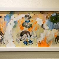 Cristina N. Paulos | Smoke and Mirrors, 2011 Oil and acrylic paint, ink and dye on wood 12 x 20 inches